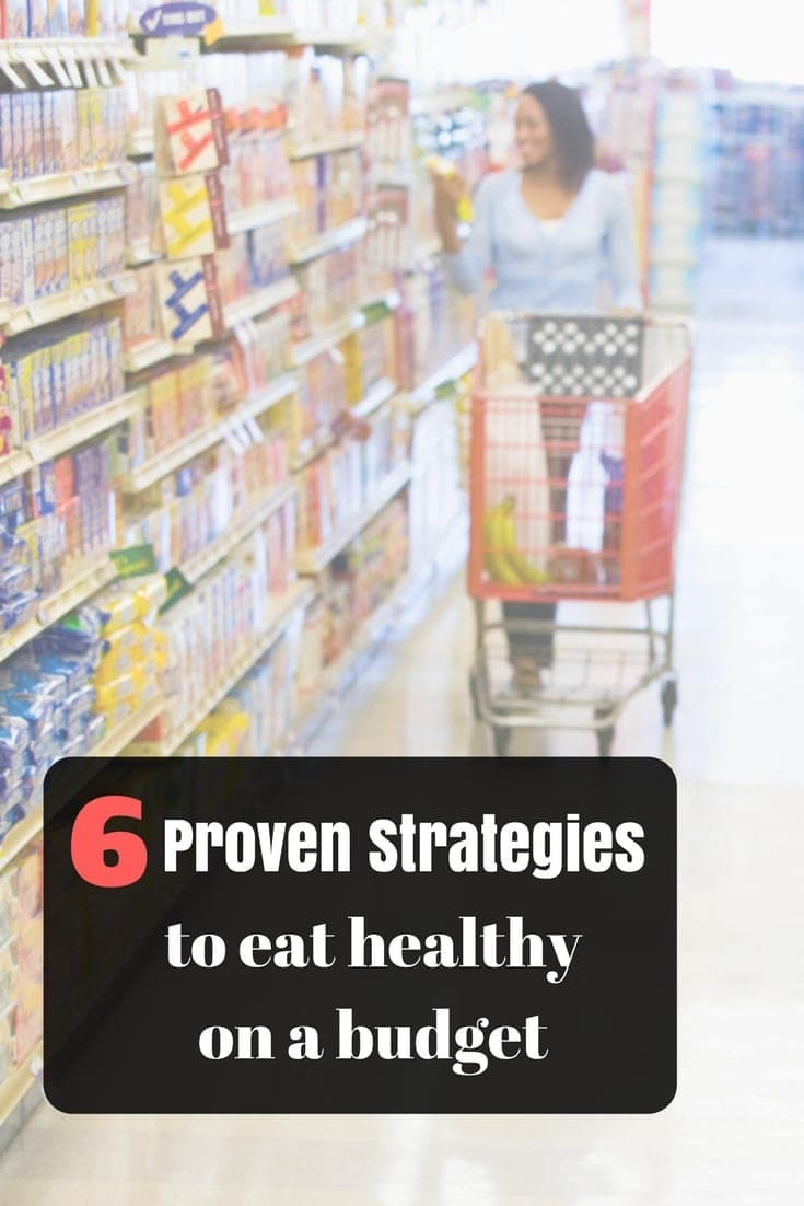 Grocery Store with text overlay 6 proven stragegies to eat healthy on a budget