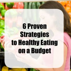 Grocery store pictures with text overlay stating 6 Proven strategies to healthy eating on a budget