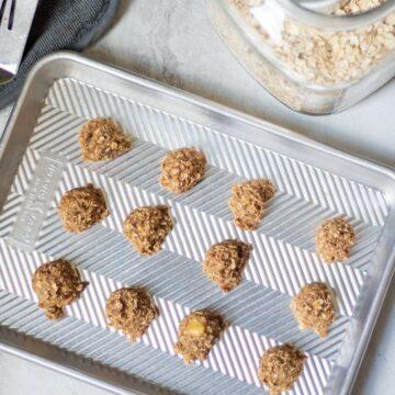 Baked Oatmeal Banana Cookies on Baking Sheet