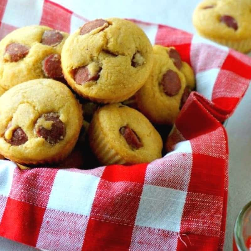 Easy Corn Dog Muffins in basket