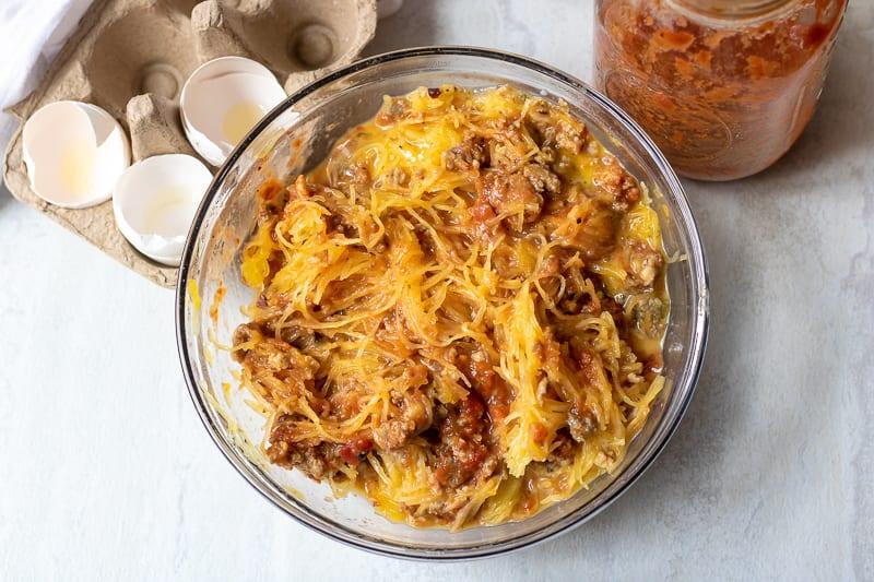 Spaghetti Squash Casserole Mixture in glass bowl