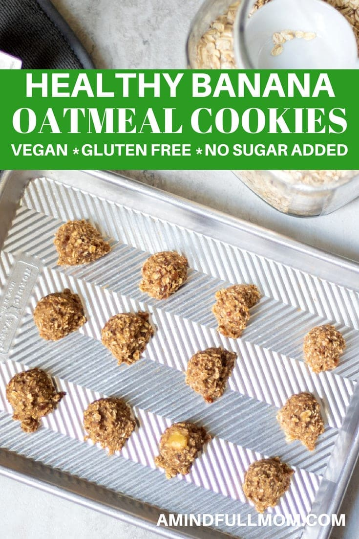 The Healthiest Cookie EVER!! These Banana Oatmeal Cookies are made with oats, banana, raisins and applesauce. This Oatmeal Banana Cookie recipe is perfect for a kid-friendly breakfast, or wholesome snack.  #oatmealcookies #breakfastcookies #glutenfree #vegan #kidfriendly #cookingwithkids