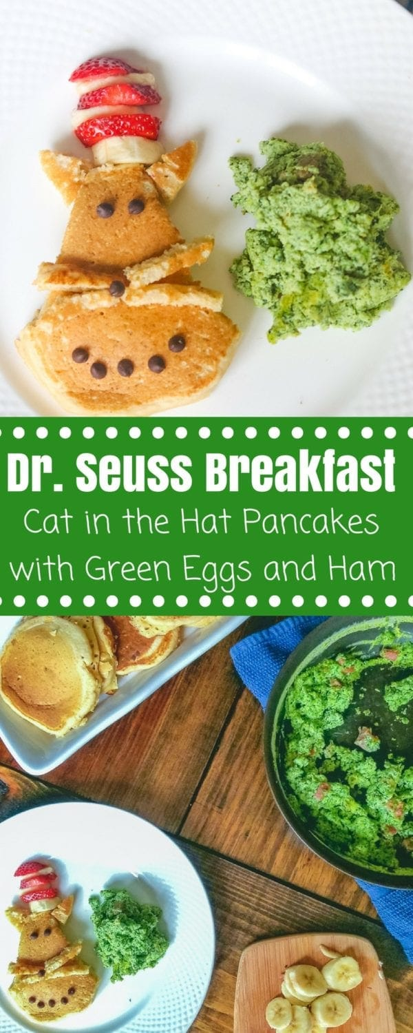 Dr. Seuss Breakfast Recipes: This Cat in the Hat pancake recipe and Green Eggs and Ham recipe are the perfect choice for Dr. Seuss themed food to celebrate a love of reading. #catinthehat #greeneggsandham #drseuss