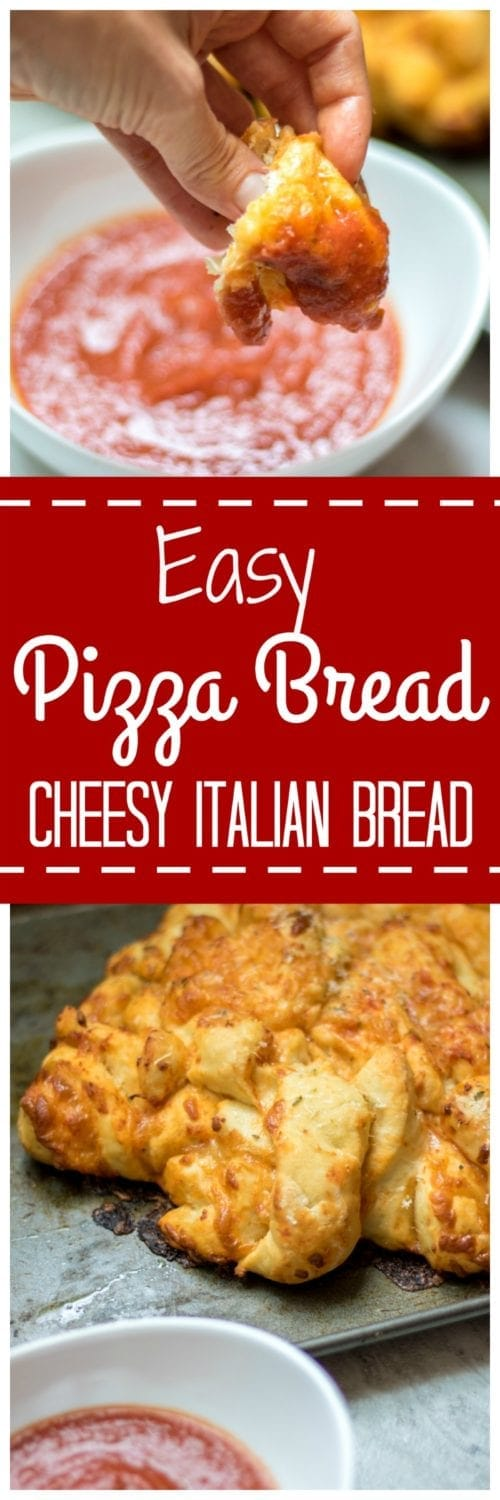 Pizza Bread: Homemade Italian Bread is baked with marinara sauce and cheese and topped with garlic butter and pizza seasonings. A fun, cheesy, kid-friendly meal!