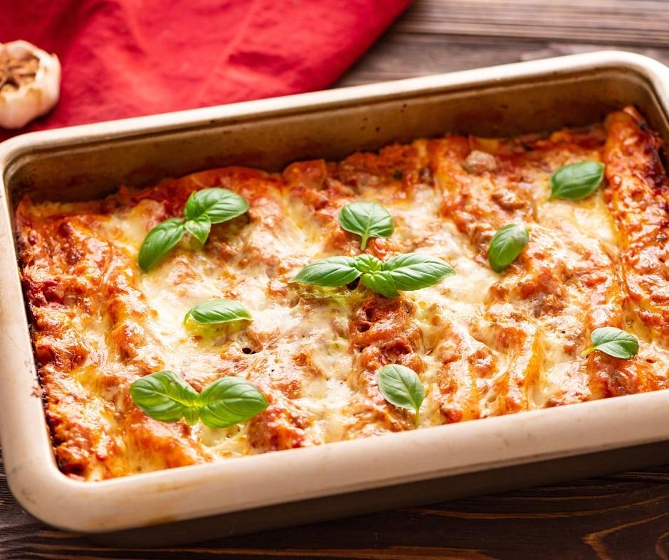 Tray of homemade lasagna
