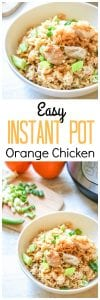 Easy Instant Pot Orange Chicken: 15 minutes is all it takes to have an easy, healthy, hearty meal on the table! This chicken and rice dish is swimming in a bright and tangy homemade orange sauce and is made gluten free with a few easy swaps.