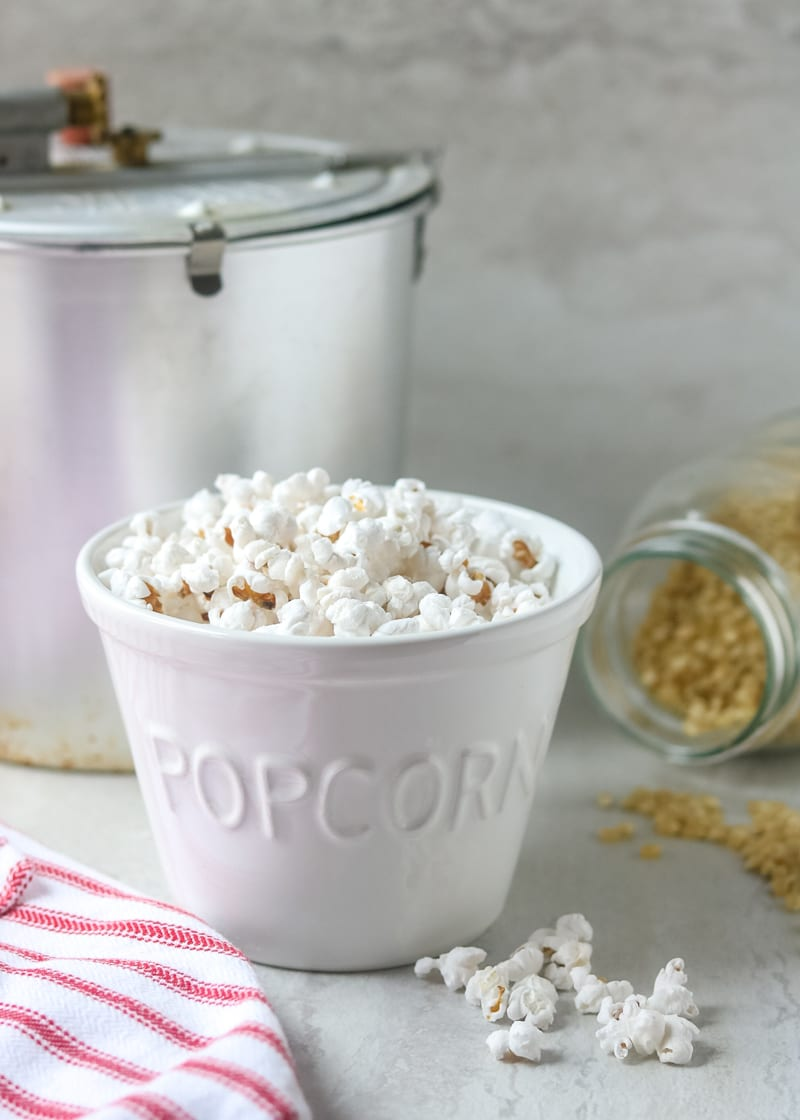 Homemade Popcorn is EASY to make at home. This method for stovetop popcorn makes the BEST Homemade Popcorn and makes a great, whole grain snack. I also discuss which oils and salts are best for homemade popcorn.