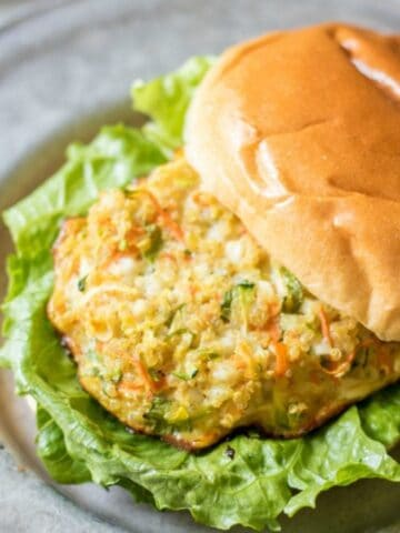 Quinoa Burger on Bun with Lettuce