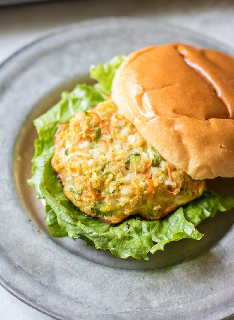 Veggie Packed Quinoa Burgers: Quinoa patties are seasoned with cottage cheese and fresh vegetables for a hearty, healthy, high in protein alternative to a burger. Gluten-Free. Meatless.