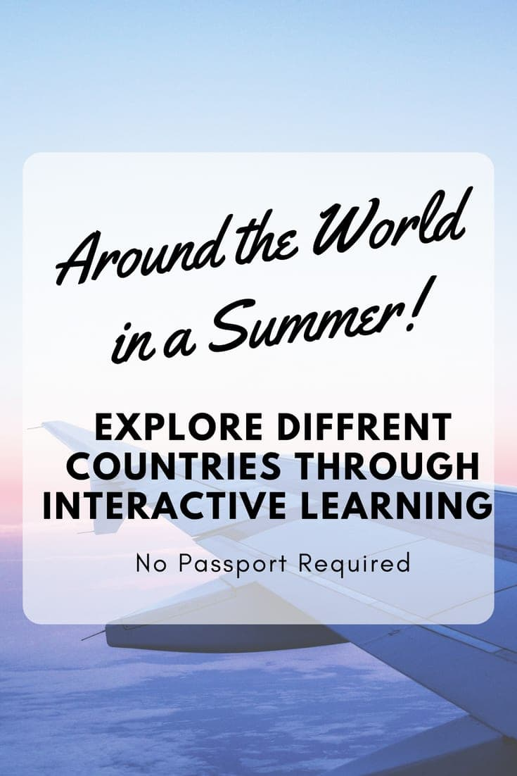 Graphic of plane and text overlay saying Around the World in a Summer