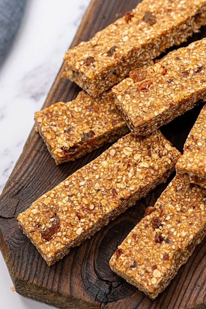 Homemade Granola Bars on wooden tray