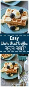 Easy Freezer Friendly Whole Wheat Waffles: Light and fluffy whole wheat waffles pack a dose of whole grains for a healthy start to the day.