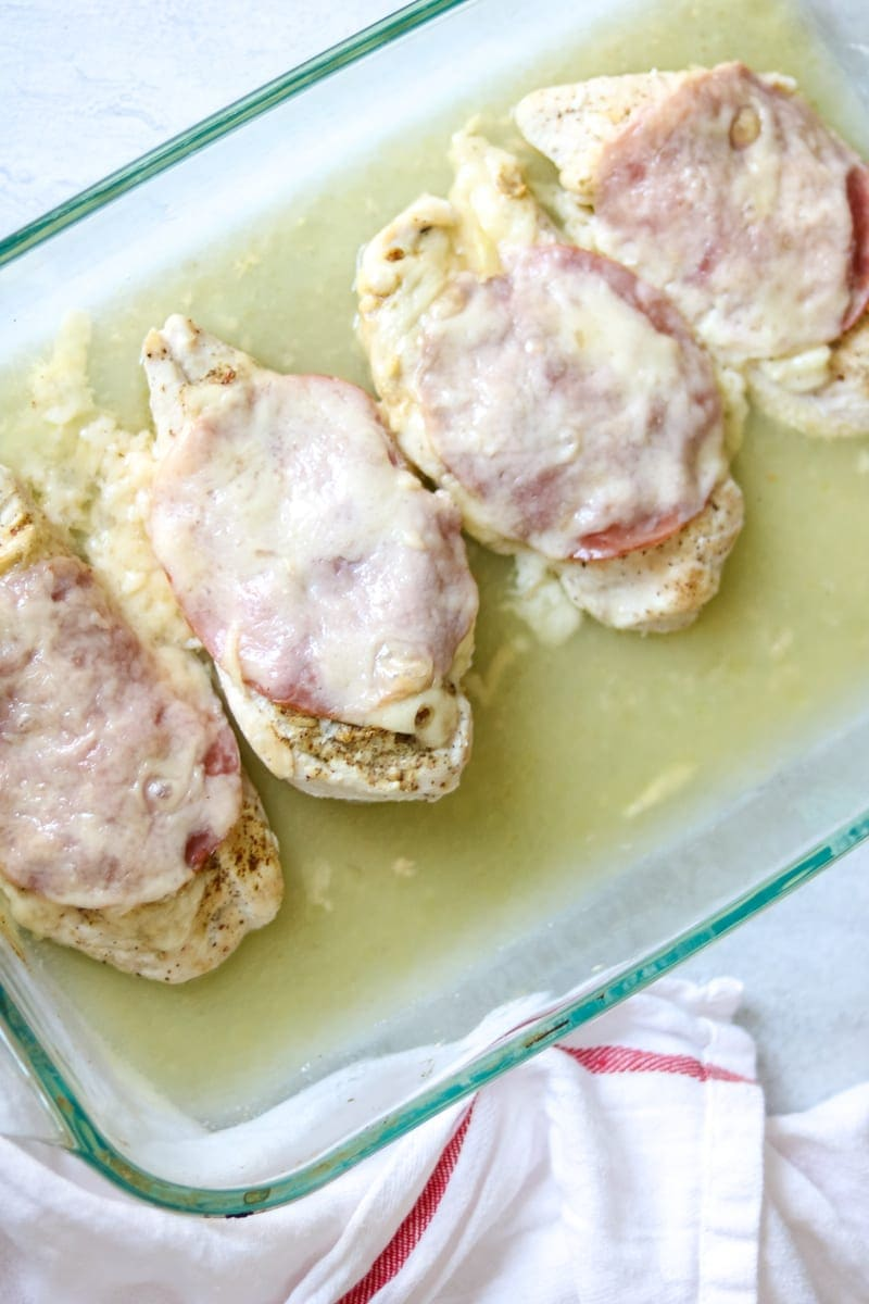 Baking dish with Baked Chicken Cordon Bleu