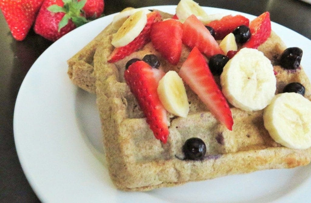 Red White and Blue Whole Wheat Waffles