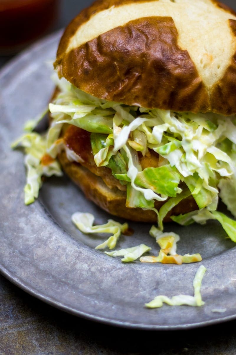 Easy Homemade Chicken Burger with Cheese and Coleslaw