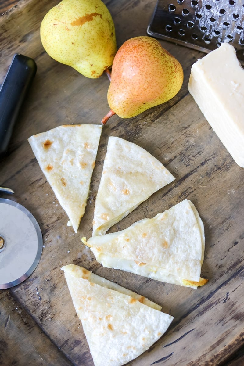 Easy Cheese Quesadilla with Gruyere and Pear: 3 Simple Ingredients come together to creat a perfect simple quesadilla that will rock your lunch!