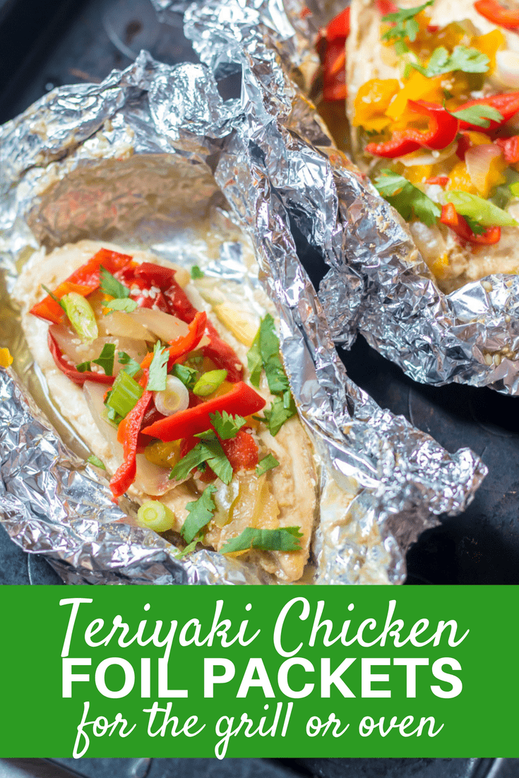 Chicken Foil Packets make dinner a breeze with essentially no clean-up! This recipe for foil packets is for Grilled Teriyaki Chicken--and it is delicious! Chicken is marinated in a homemade pineapple teriyaki sauce and then grilled up to perfection with sweet peppers for a super simple, healthy dinner recipe.