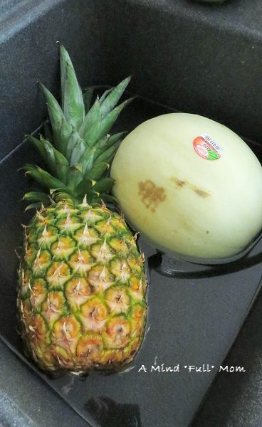 Pineapple and Honeydew going for a dunk.