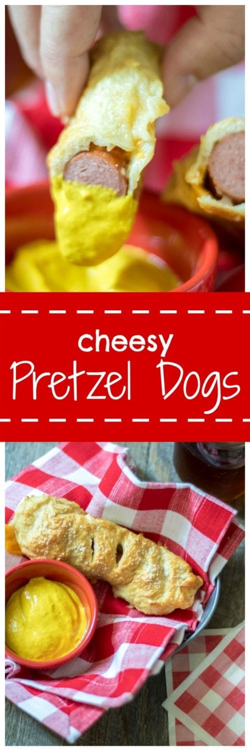 Cheesy Pretzel Dogs: An organic beef hot dog and sharp cheddar cheese are wrapped in homemade pretzel dough and baked to perfection. This hotdog beats any hotdog out there!