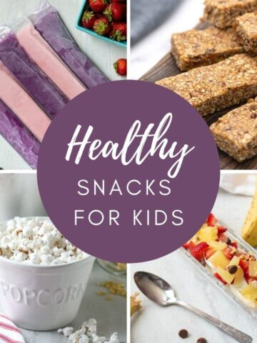 Collage for healthy snacks for kids