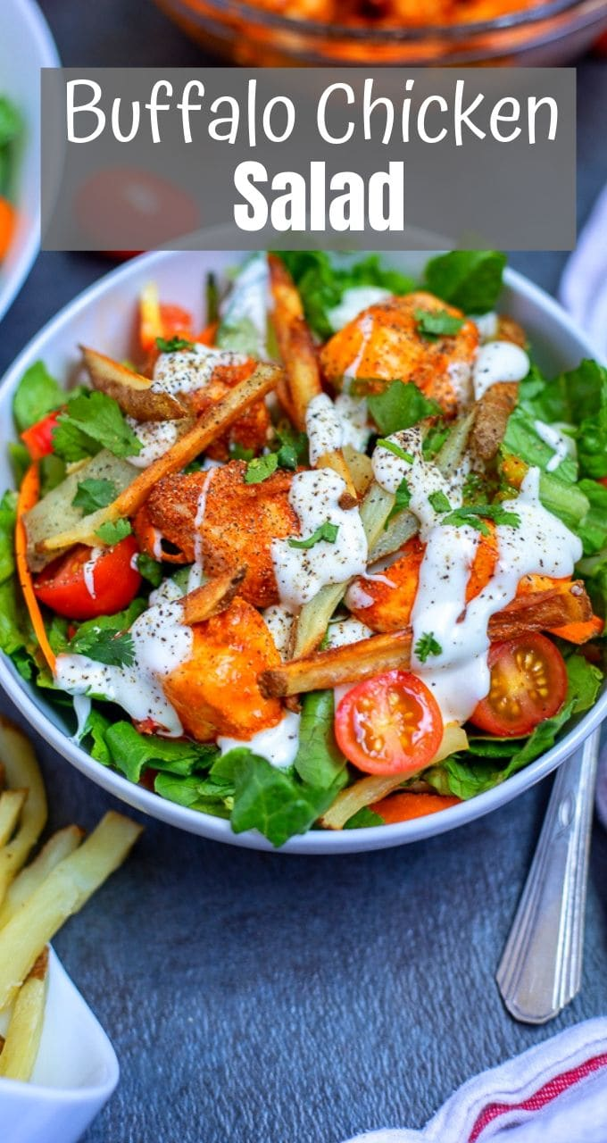 Buffalo Chicken Salad is one the most flavorful ways to enjoy a chicken salad and is a perfect way to spice up your dinner routine! While the perfectly seasoned chicken and creamy ranch dressing are enough to make you swoon, it is the addition of crispy oven baked fries that take this salad over the top!