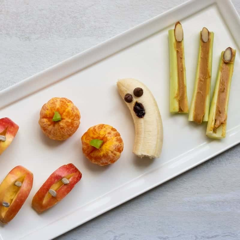 Tray of Halloween Snacks made with Fruit