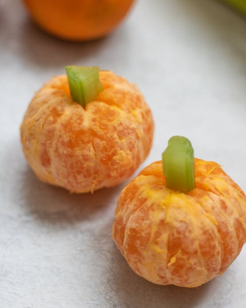 Mandarin Oranges with Celery stem to make Pumpkin Oranges