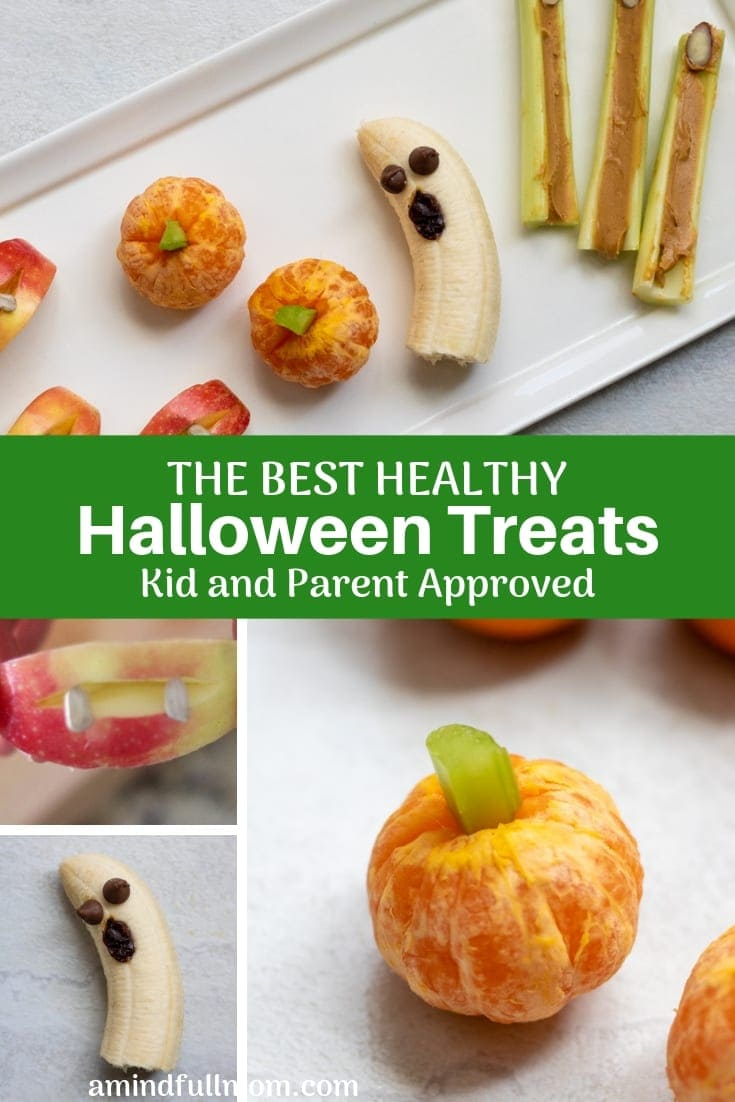Skip the candy and make these healthy, festive Halloween snacks made with fruits and vegetables instead. These Halloween snacks are parent-approved and LOVED by kids.