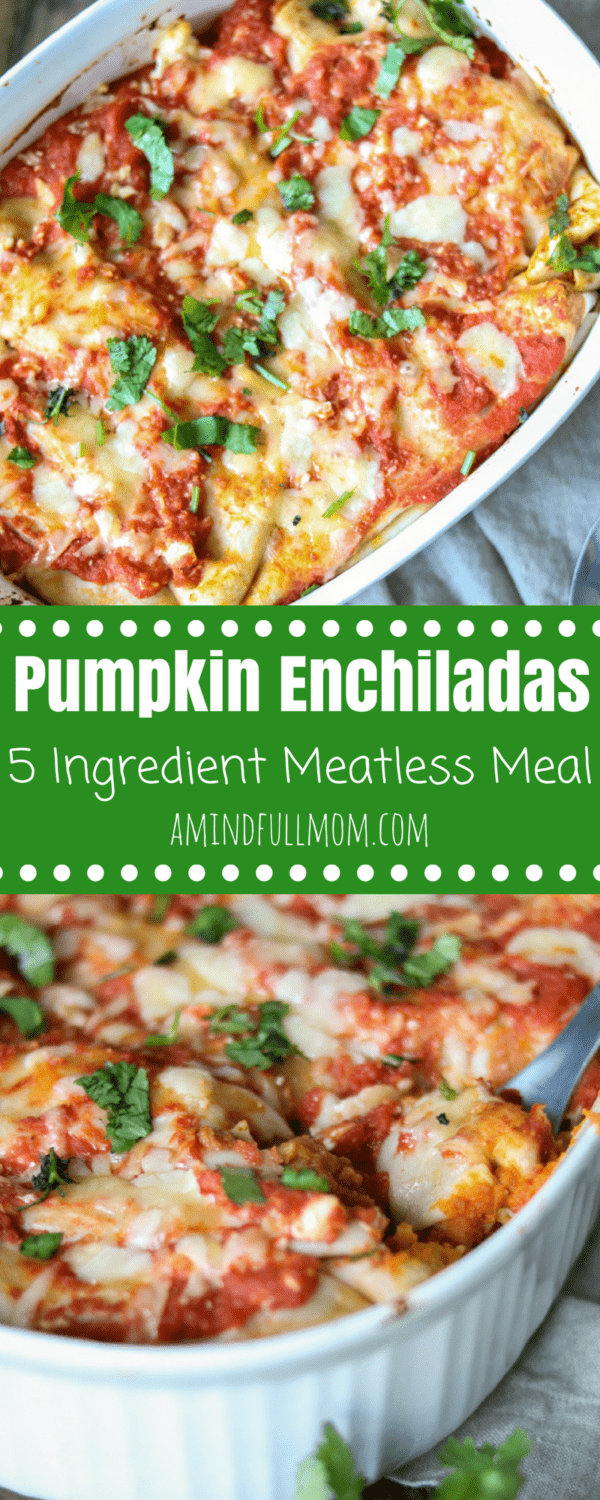 Pumpkin Enchiladas: Gluten-Free. Vegetarian. Pumpkin puree and refried beans come together with a homemade enchilada sauce to create and easy, flavorful, and healthy family dinner.