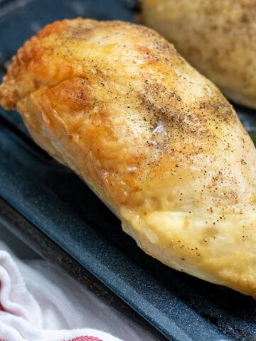 Golden Oven Roasted Chicken Breast on Broiler Pan