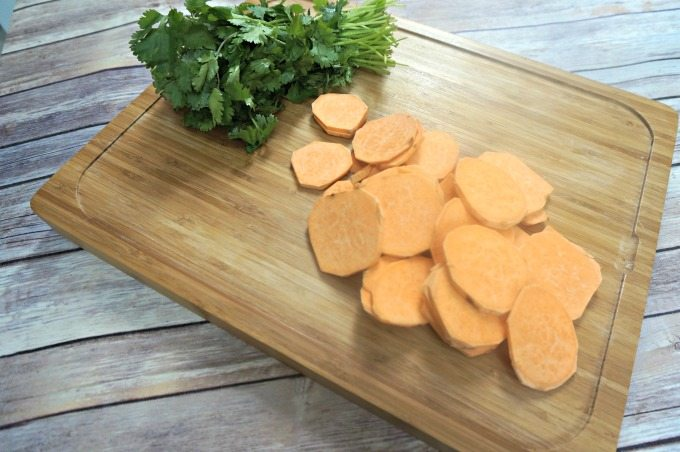 Sliced Raw Sweet Potatoes for Sweet Potato Nachos