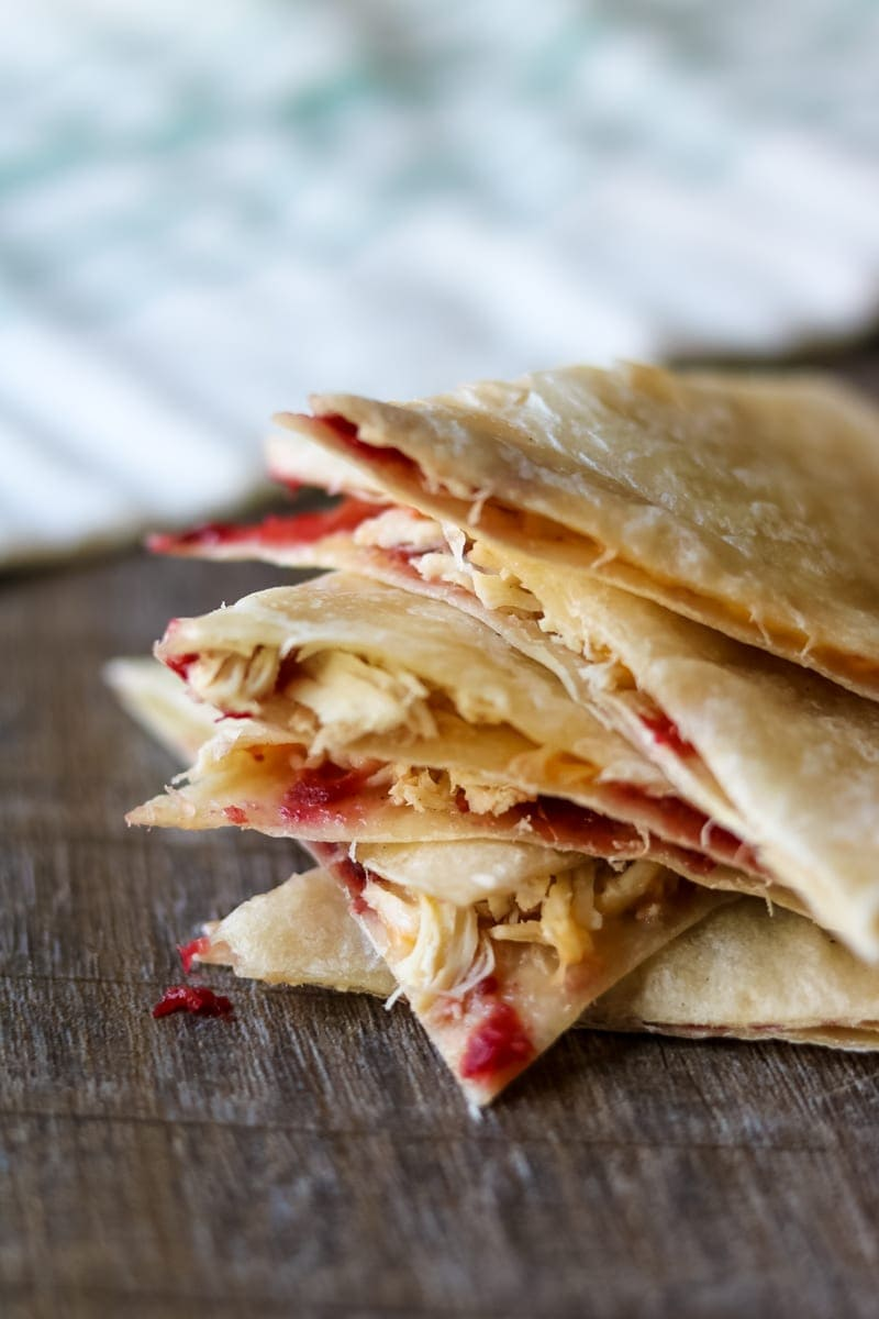 Leftover Thanksgiving Turkey Quesadilla: Leftover turkey and cranberry sauce are paired with sharp cheese in a quick and easy quesadilla.