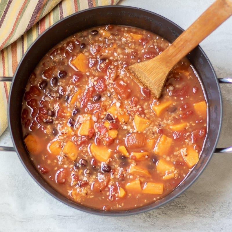 Dutch Oven with Sweet Potato Quinoa Chili