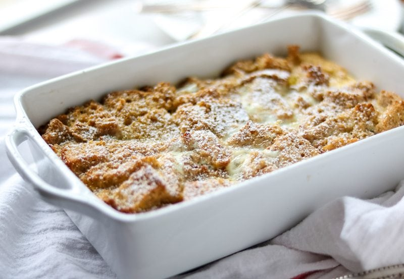 Eggnog French Toast Casserole with Bourbon Glaze: Easy Whole Wheat Eggnog Breakfast Casserole is made with a simple nutmeg custard but finished with an impressive Bourbon Glaze.