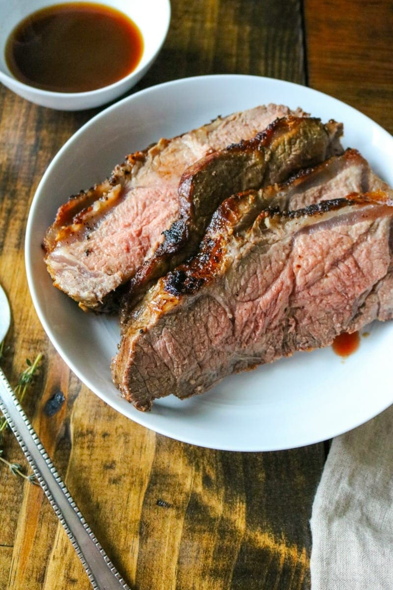 Strip Roast with Thyme and Garlic Aus Jus