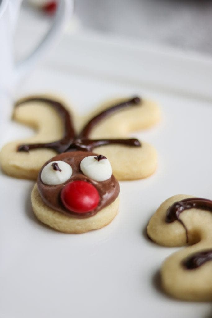 Reindeer Sugar Cookies on a white tray