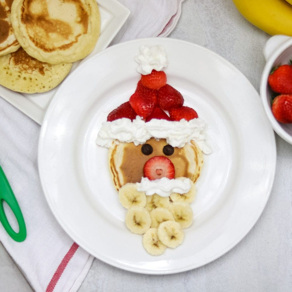 Whole Wheat Santa Pancake with fruit