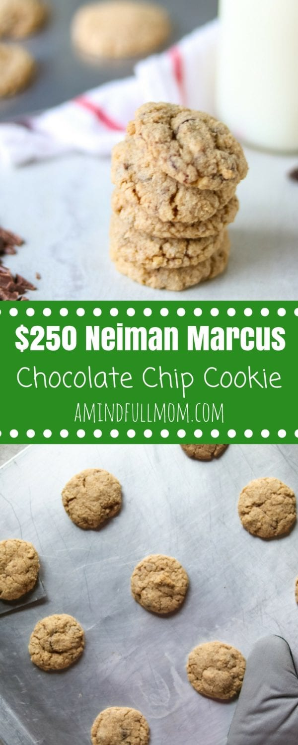 The $250 Neiman Marcus Chocolate Chip Cookie: A triple chocolate chip oatmeal cookie with blended walnuts. It is easy to see why these legendary cookies got there name after one bite.