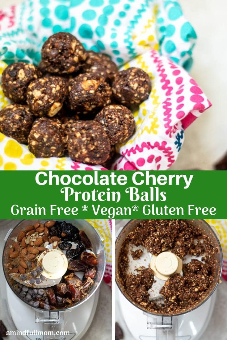 Chocolate Cherry Energy Bites are a PERFECT snack. These simple, no bake protein balls are a tasty treat filled with nutrients, fiber, and protein, that will power you through the day. #grainfree #naturallysweetened #snack #healthy