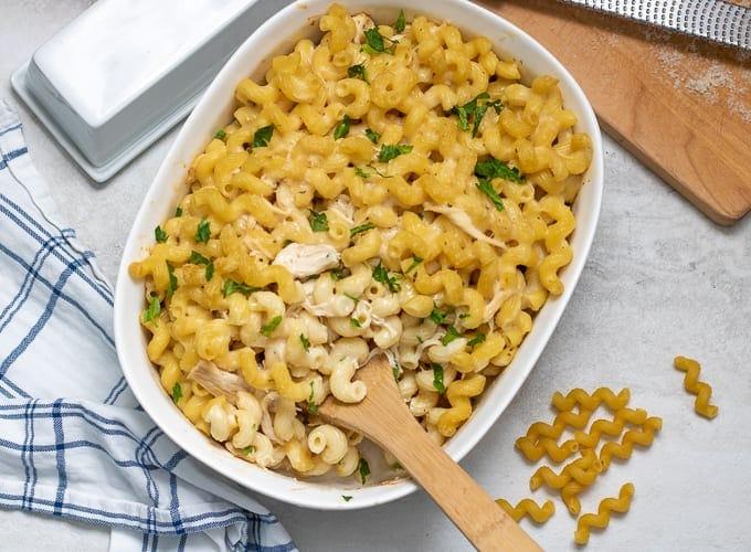 Chicken Casserole in 2 quart casserole dish