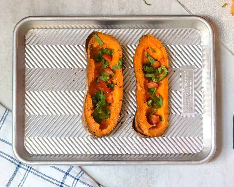 Sweet Potato with spinach and tomato
