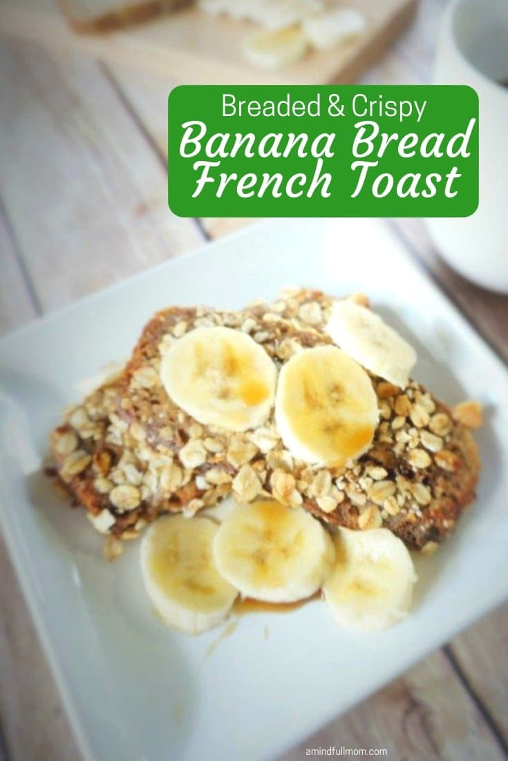 This Banana Bread French Toast is a whole new way to look at French Toast! Banana bread is dipped in a vanilla custard and then breaded in granola, nuts, and chia seeds and pan fried in coconut oil. This Crispy Banana Bread French Toast is rich and decadent and will make you swoon!