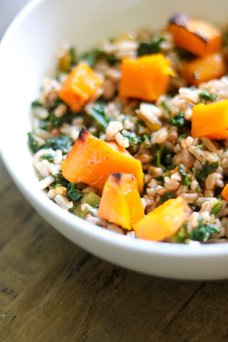 Gluten Free Vegan Butternut Squash Rice Bowl with Mexican Flavorings