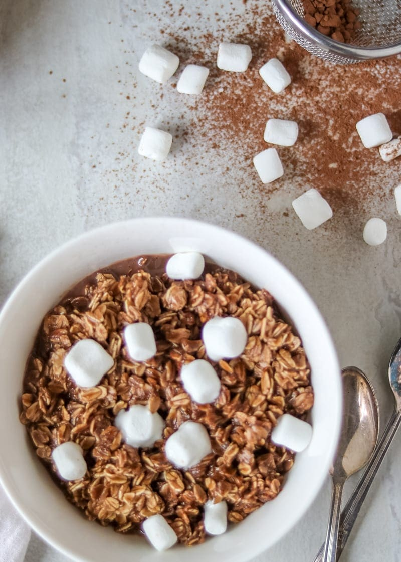 Chocolate Oatmeal topped with mini marshmallows.