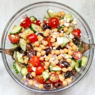 Mediterranean Chickpea Salad: A hearty meatless salad that is filled with classic Mediterranean flavors and flair. This dish is perfect to stand alone as an entree, served as a side dish, or even used as a party dip.