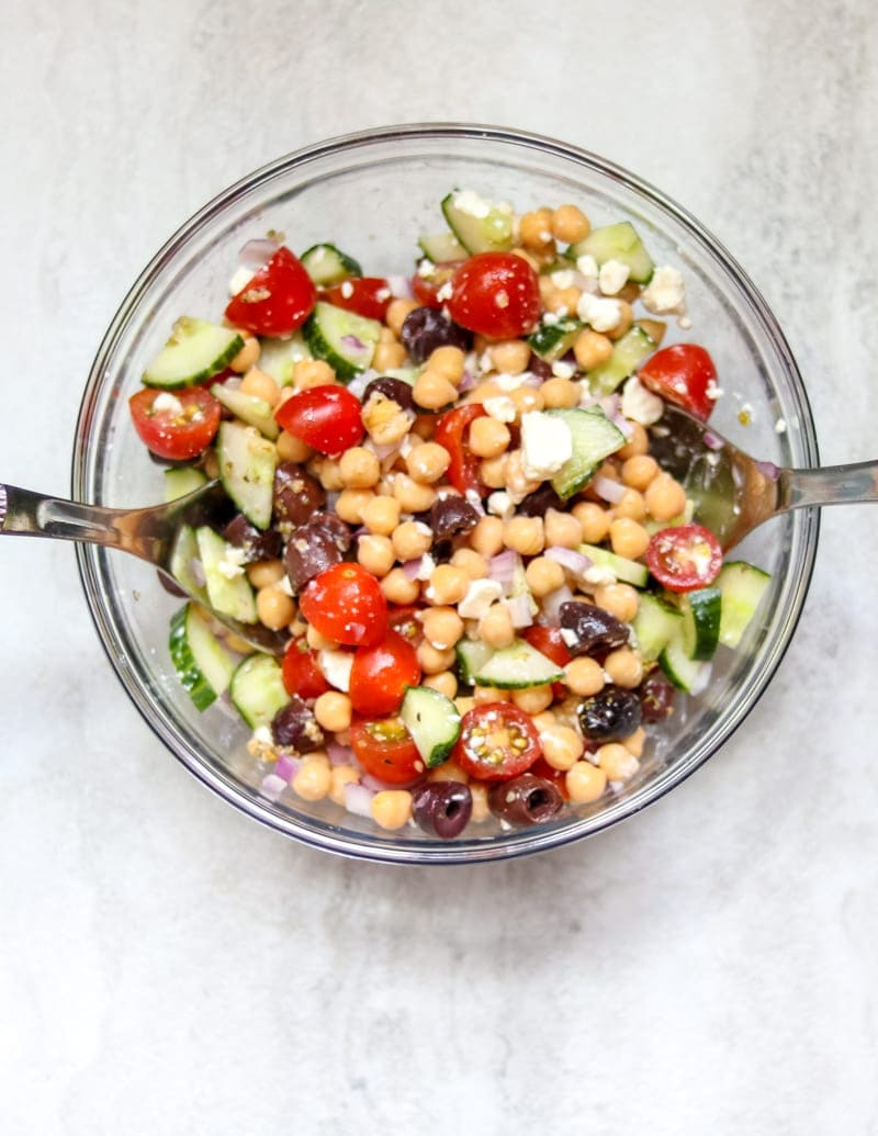 Easy Simple Chickpea Salad. Meatless. Gluten Free. Healthy. Egg Free. Nut Free. Soy Free.