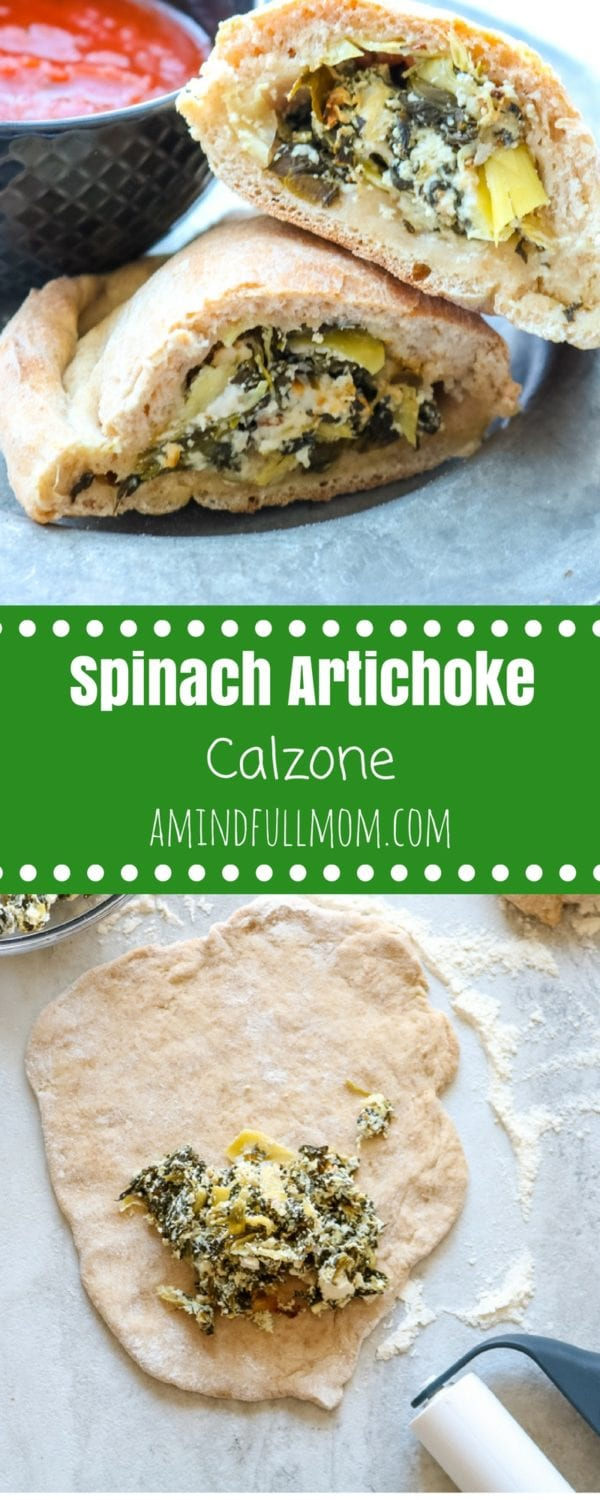 Spinach Artichoke Calzones: Everyone's favorite dip is transformed into the filling for a homemade calzone. Your pizza night has been completely revolutionized. #pizza #calzone