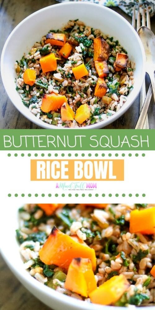 Filled with southwestern seasoning, roasted butternut squash, and kale, this Butternut Squash Rice Bowl is a simple, wholesome, vegan friendly recipe. This rice dish is a great recipe to use butternut squash and makes a hearty plant based meal.