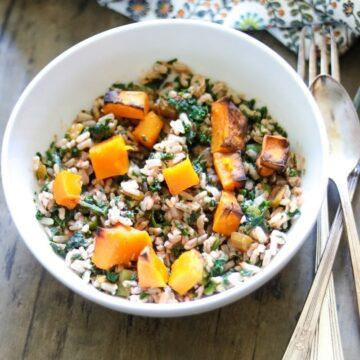 Vegan Butternut Rice Salad in white bowl
