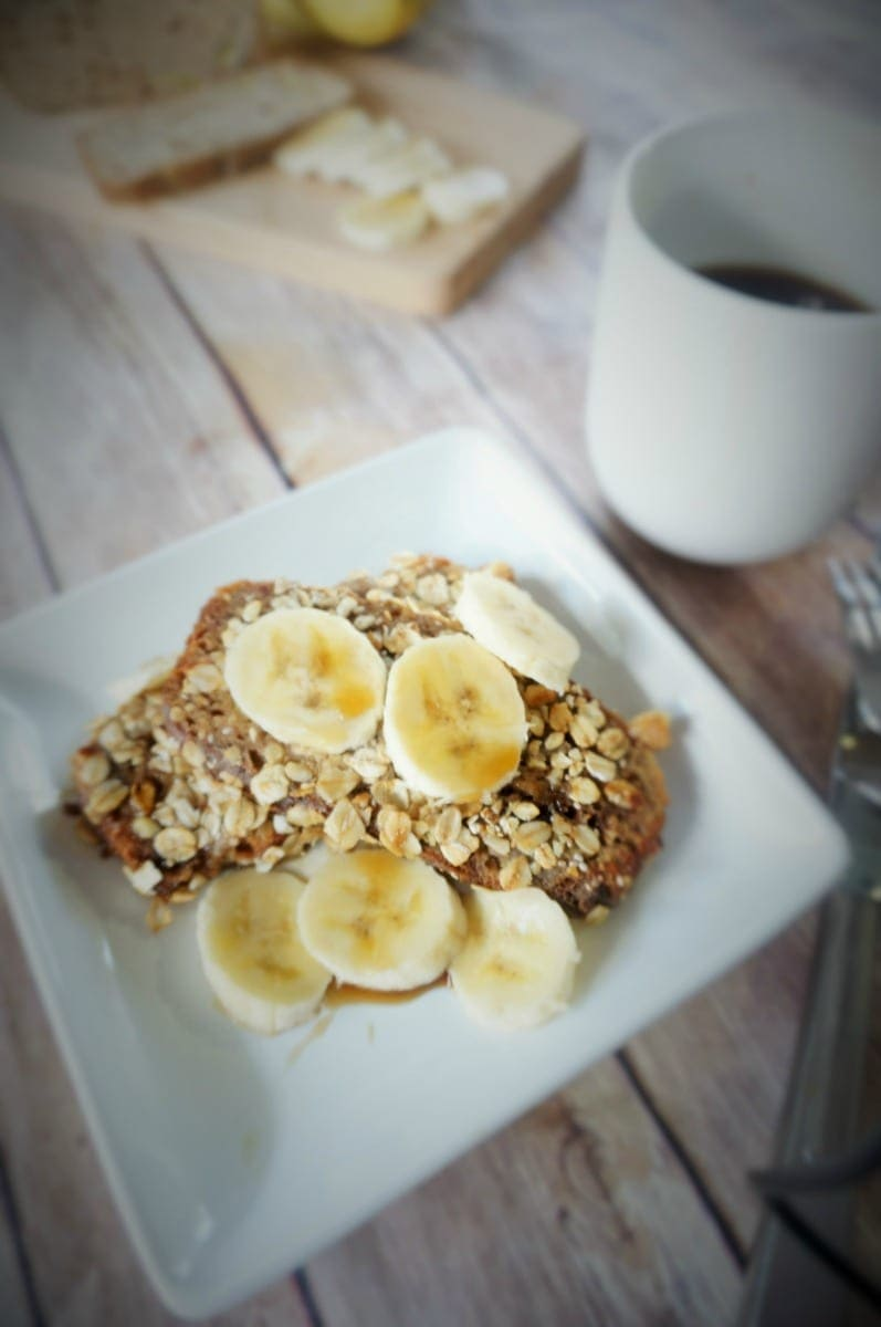 Chia and Granola Crusted Banana Bread: A whole new way to look at French Toast! Banana bread is dipped in a vanilla custard and then breaded in granola, nuts, and chia seeds and pan fried in coconut oil. It is rich and decadent and will make you swoon!